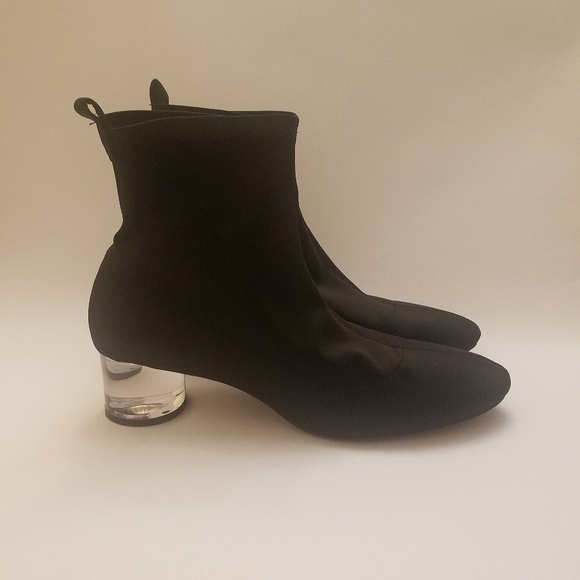 7a0e4a1d3346 Zara black ankle boots with clear heel. M 5b90acc9a5d7c601ca092aee